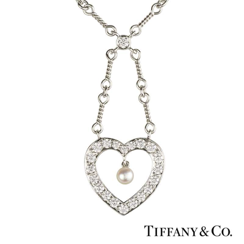 Tiffany & Co. Diamond and Pearl Heart Necklace in Platinum